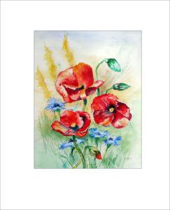 Korn – und Mohnblumen –  50 x60 cm (Nr.35)