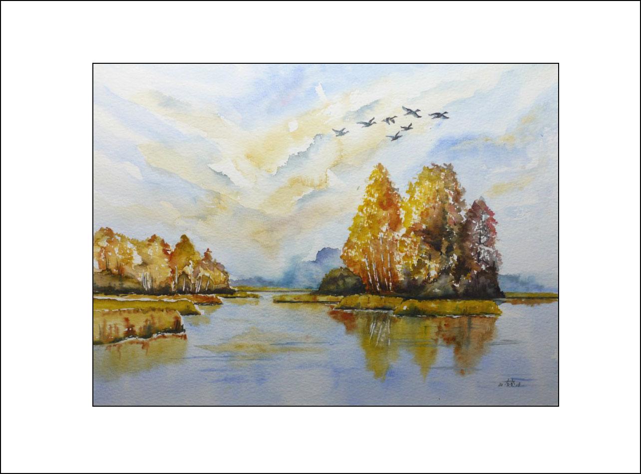 Peitzer Teiche im Herbst – 40 x 50 cm (Nr. 69)