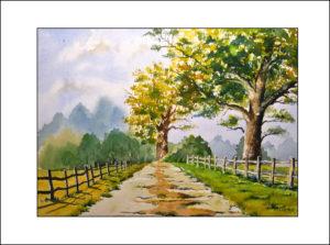 """"""" Sommerweg""""  Aquarell -40 x50 cm (Nr. 258)"""