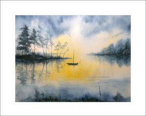 Abend am See, Aquarell , 30 x40 cm , Nr. 324