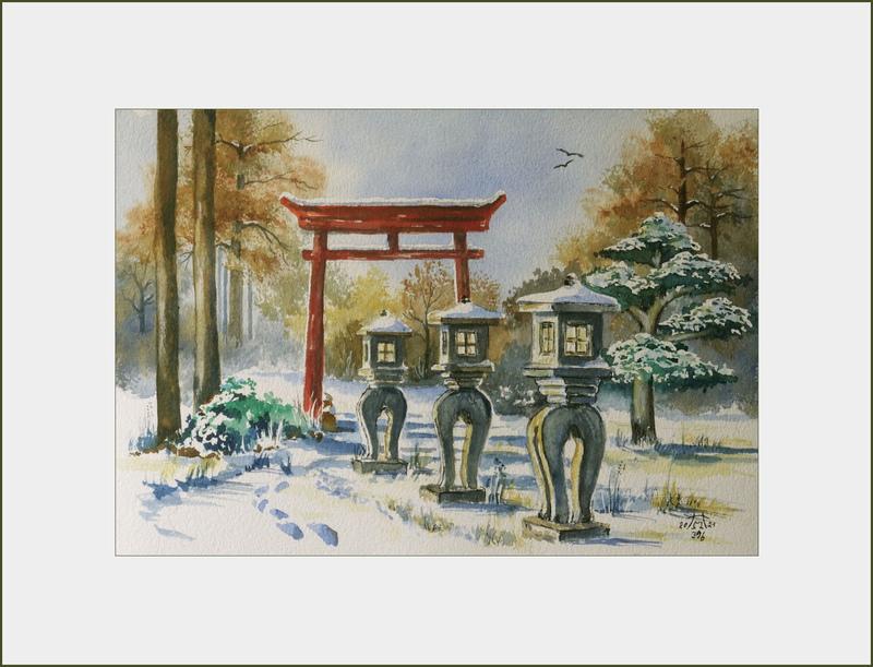 2021 Nr. 396 a Winter im Koi- Garten Burg