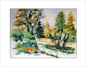 Herbstspaziergang Aquarell – 40 x 50 cm, (Nr. 277)