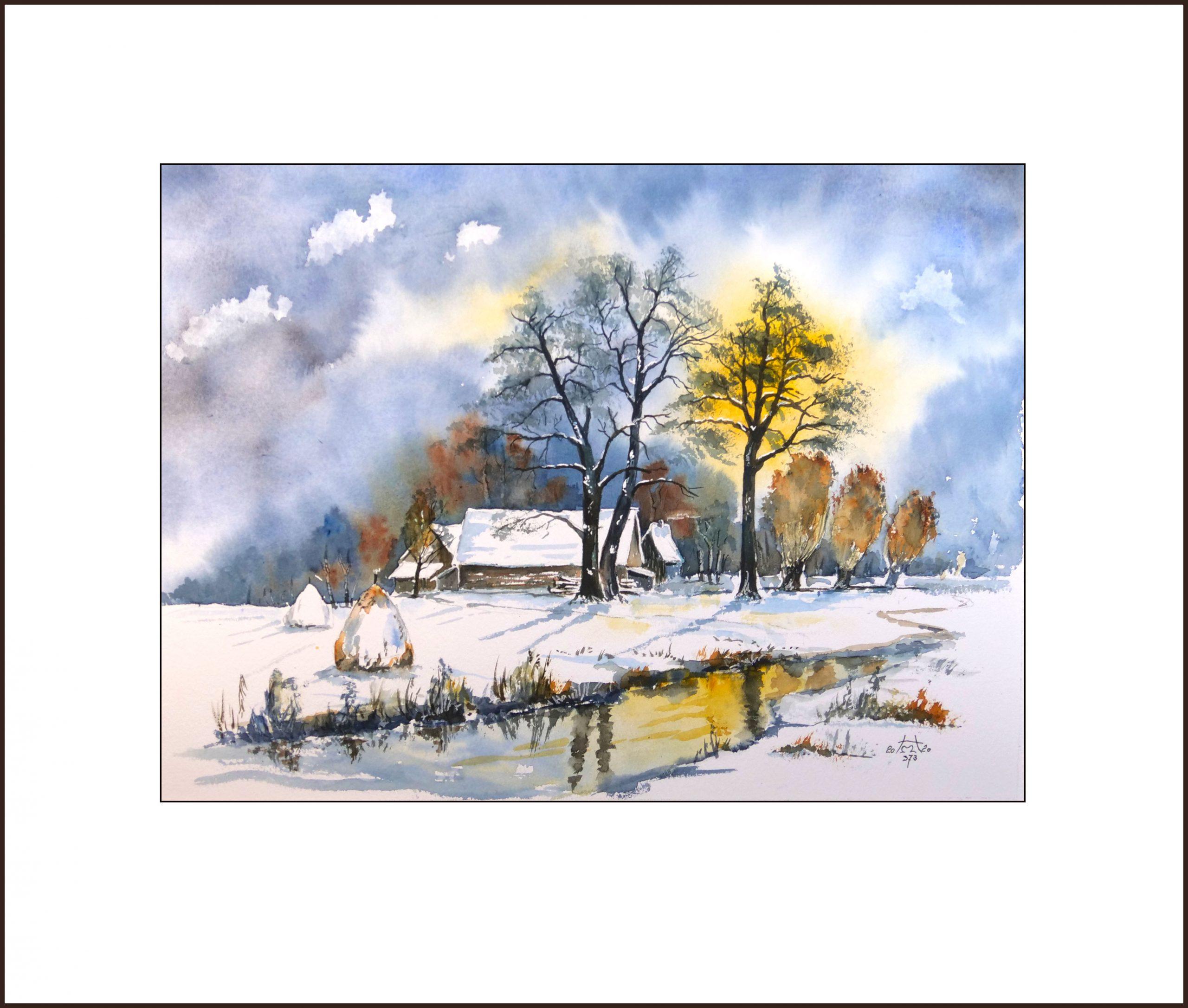 Wintertag im Spreewald, Aquarell, 40×50 cm, Nr. 373
