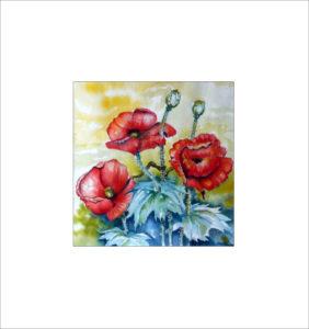 Drei Mohnblüten – 50 x 50 cm (Nr. 116)