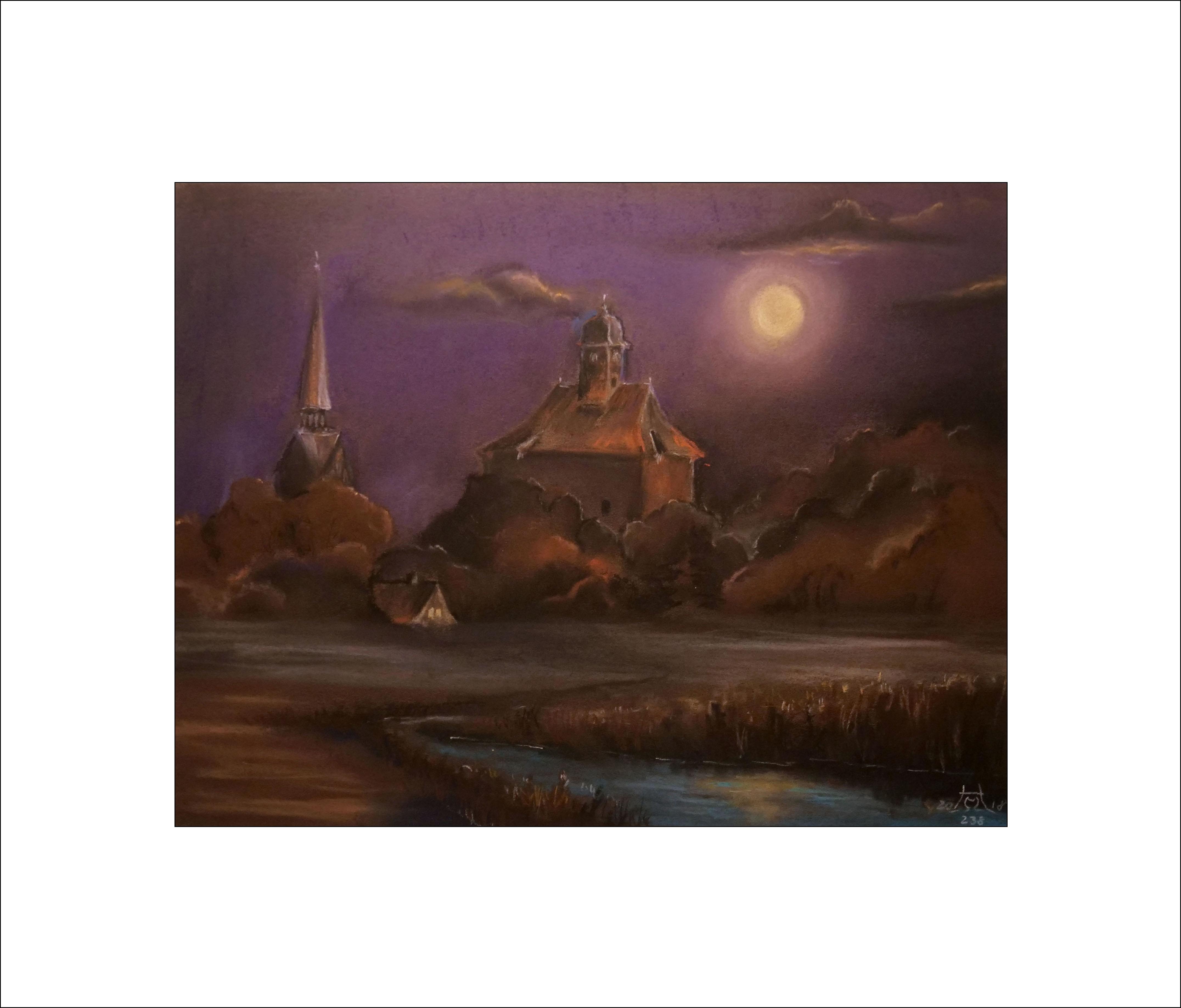 Mondschein über der Peitzer Festung – 40 x 50 cm (Nr. 238)