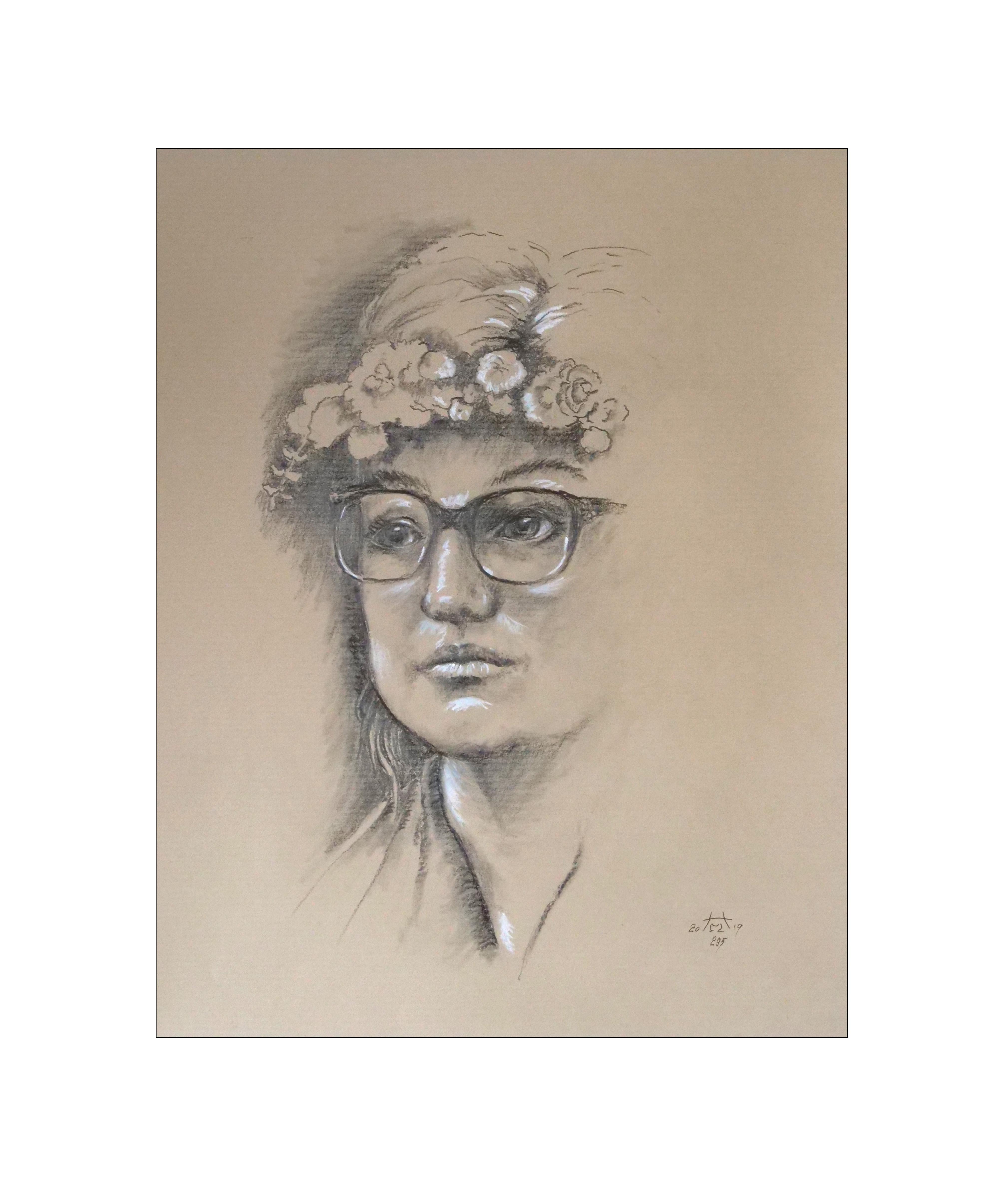"""""""Mädchen mit Blumenkranz"""" 40 x 50 cm, Nr. 296 , Bleistift / Pastell"""