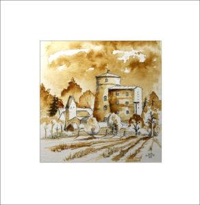 die Mühle in Turnow – Sepia, 30 x 30 cm ,Nr. 320